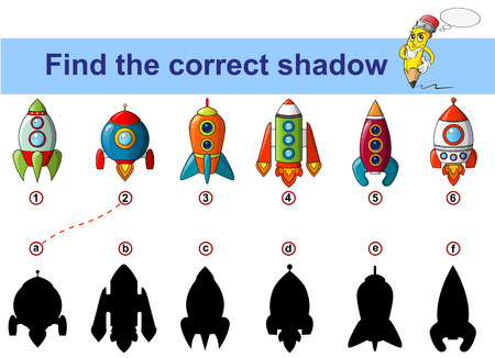 Find correct shadow. Kids educational game. Spaceship. Rocket Illustration