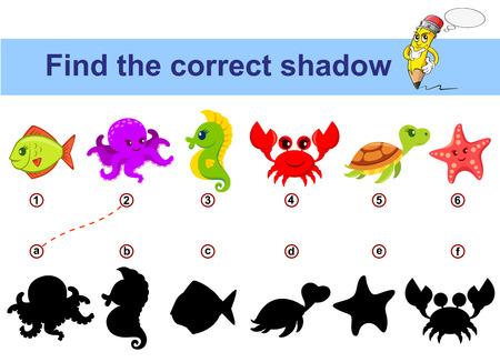 Find correct shadow. Kids educational game. Sea animals Vektorové ilustrace