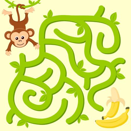 Pomóż małpce znaleźć drogę do banana. Labirynt. Gra labirynt dla dzieci