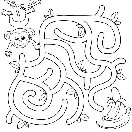 Help monkey find path to banana. Labyrinth. Maze game for kids. Black and white vector illustration for coloring book