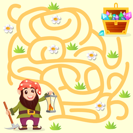 Help gnome find path to treasure chest. Labyrinth. Maze game for kids