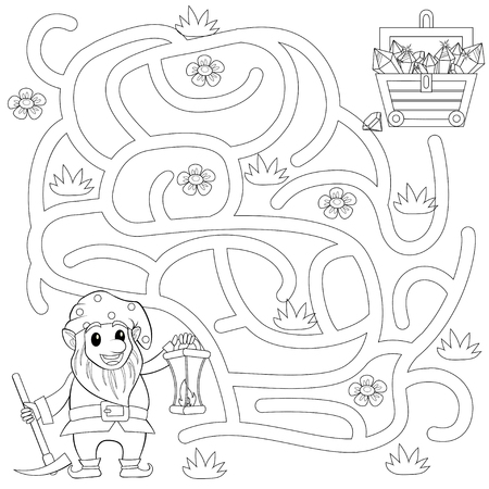 Help gnome find path to treasure chest. Labyrinth. Maze game for kids. Black and white vector illustration for coloring book