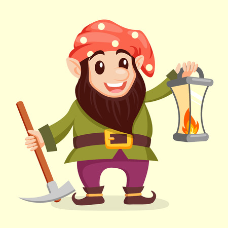 Fairy tale gnome with lamp. Dwarf. Elf