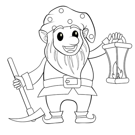 Fairy tale gnome with lamp. Dwarf. Elf. Black and white vector illustration for coloring book Illustration
