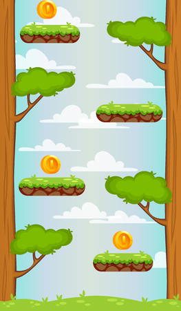 Landscape with grass and mountains. Background for UI game. Vertical background with separated layers for mobile game
