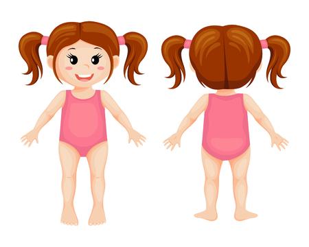 Parties du corps. Fille de dessin animé mignon Vecteurs