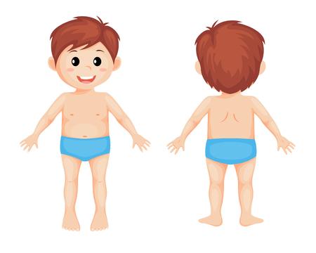 Parts of body. Cute cartoon boy