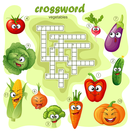 Crossword puzzle game of vegetable. Emoticons