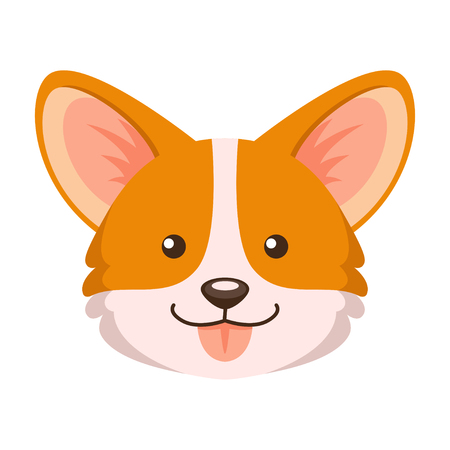 Corgi. Vector illustration of cute puppy corgi isolated on white background