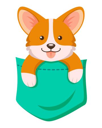 Pocket corgi dog. Cute cartoon puppy