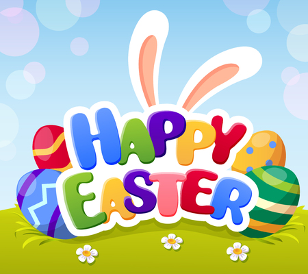 Happy easter card with bunny ears and eggs Illustration