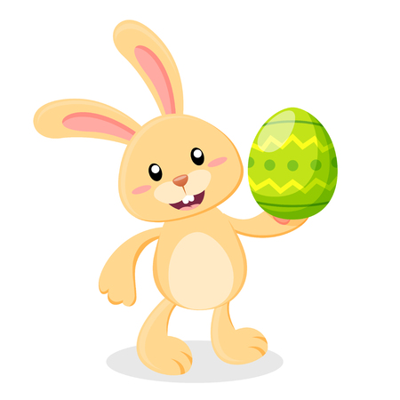 Cute cartoon Easter bunny with Easter egg. Vector illustration isolated on white background