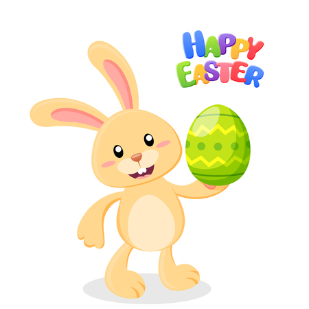 Happy easter card. Cute cartoon Easter bunny with egg. Vector illustration isolated on white background Ilustrace