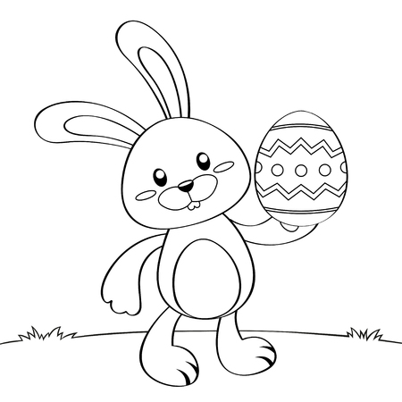 Cute cartoon Easter bunny with Easter egg. Black and white vector illustration for coloring book Vectores