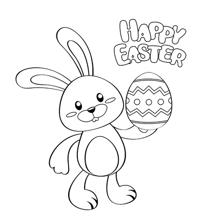 Happy easter card. Cute cartoon Easter bunny with egg. Black and white vector illustration for coloring book