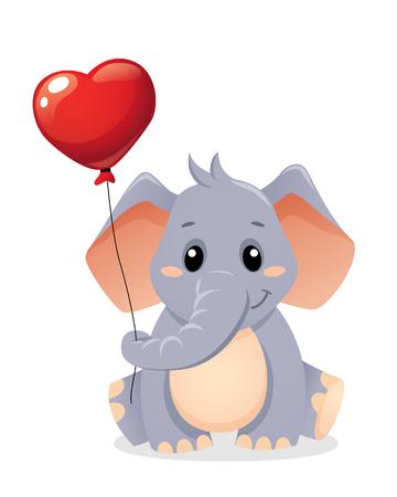 Cute little elephant holding balloon in heart form Ilustrace