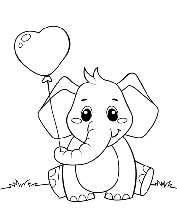 Cute little elephant holding balloon in heart form. Black and white vector illustration for coloring book