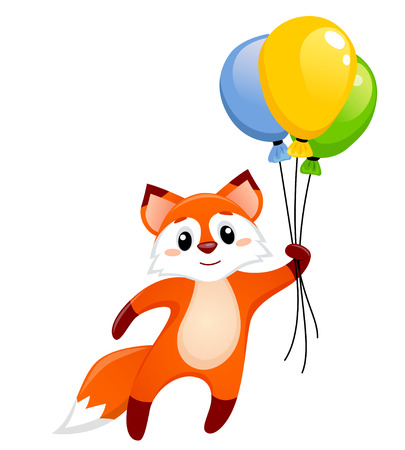 Cute little fox flying with balloons Ilustrace