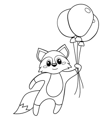 Cute little fox flying with balloons. Black and white vector illustration for coloring book Ilustrace