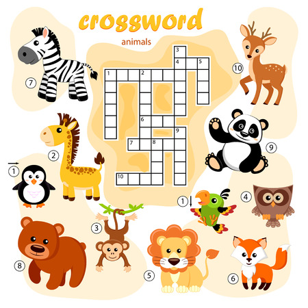 Crossword puzzle game of animals. Panda, fox, deer, bear, owl, giraffe, lion, zebra, monkey, parrot, penguin