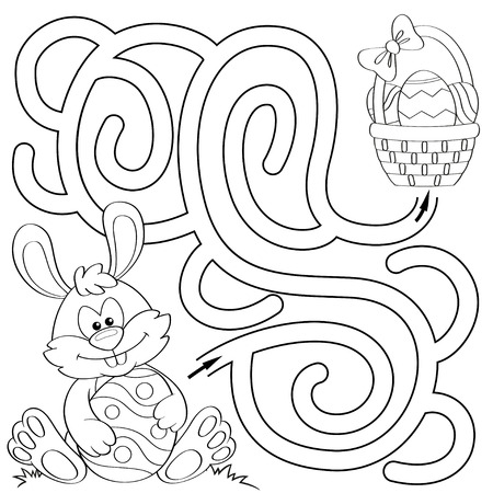 Help little bunny find path to basket with eggs. Labyrinth. Maze game for kids. Black and white illustration for coloring book