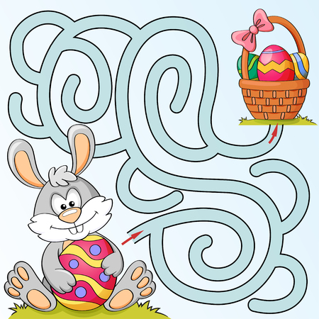 Help little bunny find path to easter basket with eggs. Labyrinth. Maze game for kids