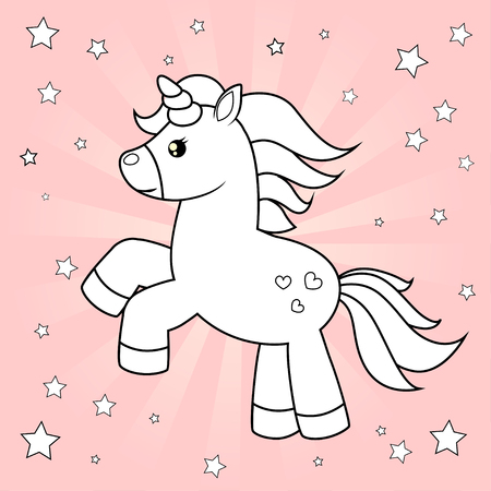 Cute cartoon unicorn. Black and white vector illustration for pink book