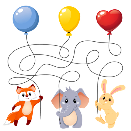 Animals flying with balloons. Puzzle. Maze game for kids. Find which animal holding which balloon Ilustrace