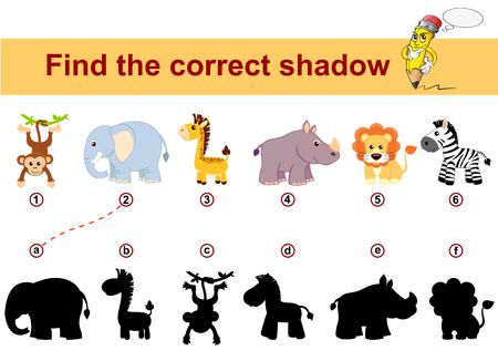 Vind de juiste schaduw. Educatief spel voor kinderen. Afrikaanse dieren. Leeuw, olifant, giraf, aap, zebra en neushoorn
