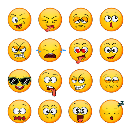 Emotikony. Emotikony. Śliczna kreskówka okrągłe twarze z różnymi emocjami