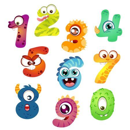 Set cartoon monster nummers