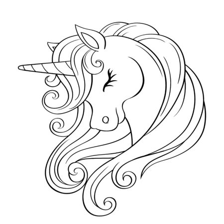 Cute cartoon unicorn head with rainbow mane. Black and white vector illustration for coloring book