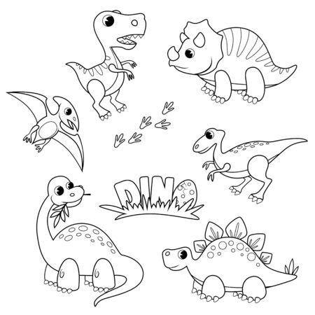 Set of cartoon dinosaurs. Cute dino. Black and white vector illustration for coloring book 矢量图像