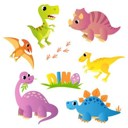 Set of cartoon dinosaurs.