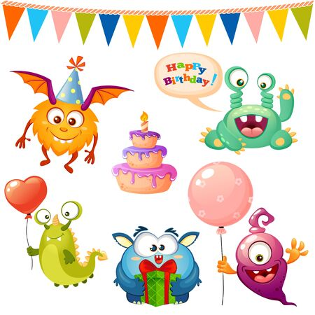 Set of cute cartoon monster. Happy birthday monsters party Illustration