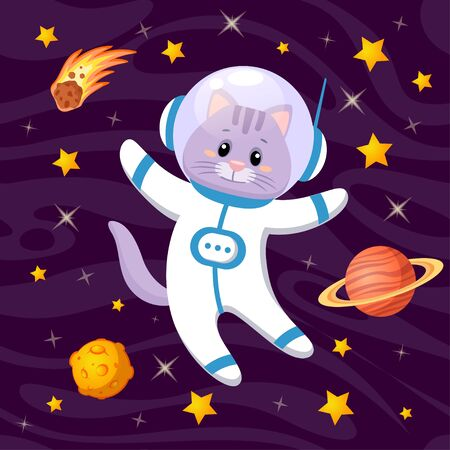 Cute cartoon cat astronaut in space  イラスト・ベクター素材