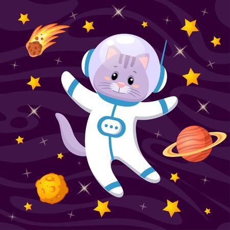 Cute cartoon cat astronaut in space Illustration