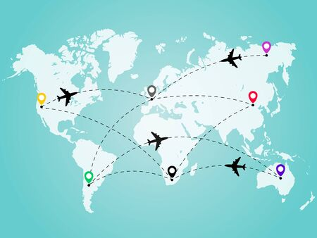 World map with airplane line path. Travel concept