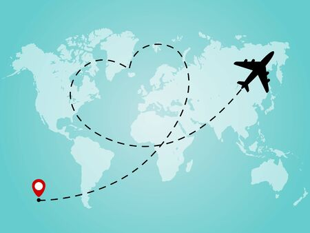 World map with airplane line path in heart form. Romantic and love travel