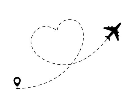 Airplane line path in heart form. Romantic and love travel concept