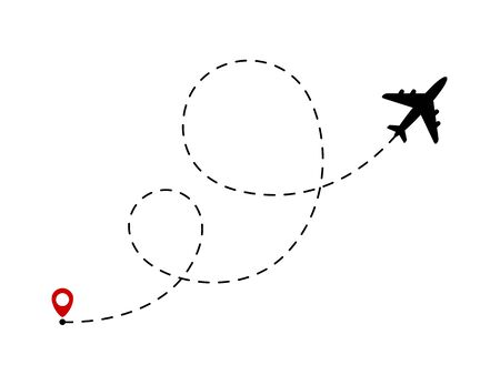 Airplane line path. Travel concept