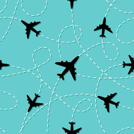 Seamless pattern with linepath airplanes