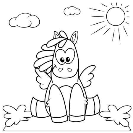 Cute cartoon pony sitting on the meadow. Black and white illustration for coloring book