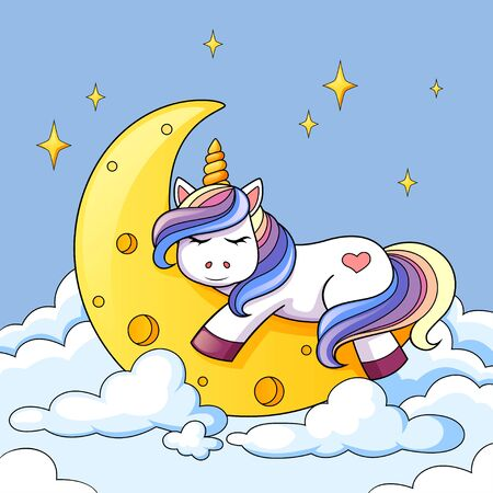 Cute cartoon unicorn sleeping on the moon in clouds Stock Illustratie