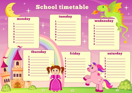 School timetable with fairytale princess, castle, unicorn, rainbow and dragon. Back to school
