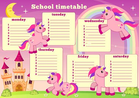 School timetable with fairytale unicorn, rainbow and castle. Back to school