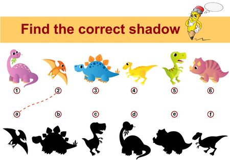 Find correct shadow. Kids educational game. Dinosaurs Illustration