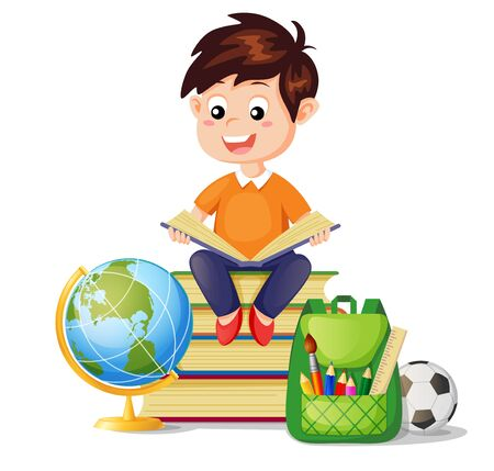 Boy sitting on pile books and reading book. I love read. Back to school. School education and knowledge