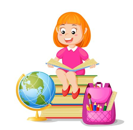 Girl sitting on pile books and reading book. I love read. Back to school. School education and knowledge