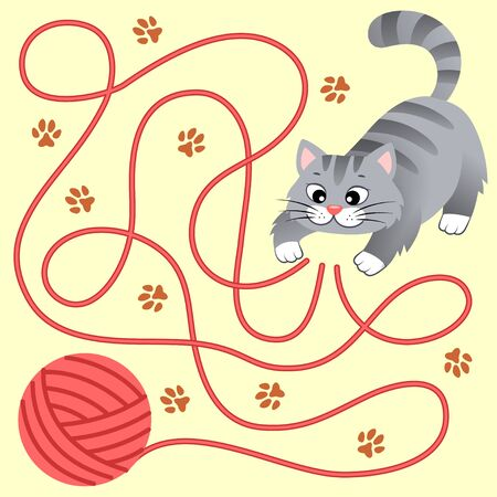 Help little kitten find path to ball of thread. Labyrinth. Maze game for kids